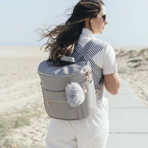 Fawn Design Original Diaper Bag Faux Leather Grey Backpack